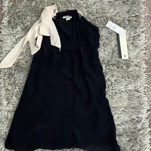 Dark Blue Quicksilver Dress with pink bow.